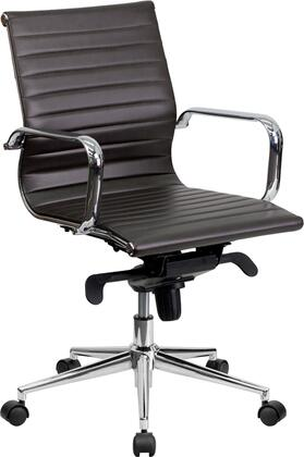 BT-9826M-BRN-GG Mid-Back Brown Ribbed Upholstered Leather Conference
