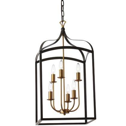 WIN-296C-BK 4 Light Chandelier Lantern  Matte Black With Vintage Bronze