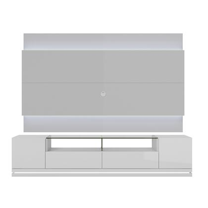 "Vanderbilt and Lincoln Panel 2.2 Collection 2-1755284052 85"" TV Stand with 4 Shelves 2 Full Extension Drawers and LED Lights in White thumbnail"