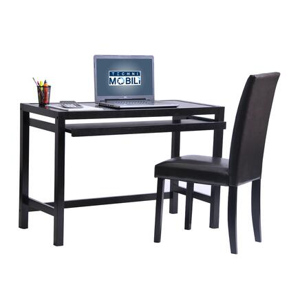 RTA-3605ST-WN Techni Mobili Matching Desk with Keyboard Panel and Chair Set. Color: