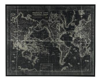 Berit A8000109 Wall Art With World Map  Telegraphic Lines  Giclee Reproduced and Sawtooth for Hanging in Black and