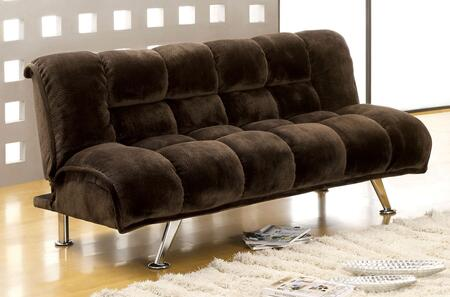 "Marbelle Collection CM2904DB 74"" Futon Sofa with Champion Fabric  Chrome Legs and Extra Folding Legs in Dark"