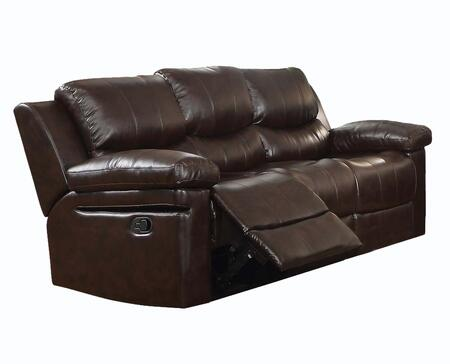 Xenos Collection 52140 84 inch  Motion Sofa with Pillow Top Arms  Wood and Metal Frame  Tight Cushions and Leather-Aire Upholstery in Dark Brown