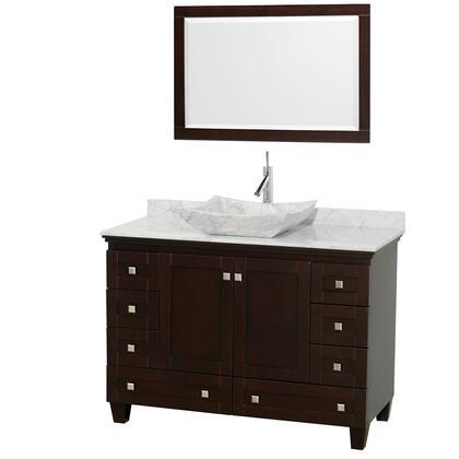 Wcv800048sescmgs3m24 48 In. Single Bathroom Vanity In Espresso  White Carrera Marble Countertop  Avalon White Carrera Marble Sink  And 24 In.