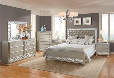 Claire Collection CLAIRE QUEEN BED SET 6-Piece Bedroom Set with Queen Size Bed  Dresser  Mirror  Chest and 2 Nightstands in