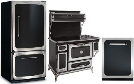 3-Piece Black Kitchen Package with 301500RBLK 30 inch  Bottom Freezer Refrigerator  6210CD0BLK 48 inch  Freestanding Electric Range  and HCTTDWBLK 24 inch  Fully Integrated