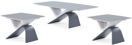 T9966C2E 3-Piece Living Room Table Set with Coffee Table and 2 End Tables in Grey and Dark