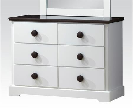 Docila Collection 30226 39 Dresser With 6 Drawers  Parquet Pattern Design  Poplar Wood And Basswood Veneer Materials In White And Chocolate