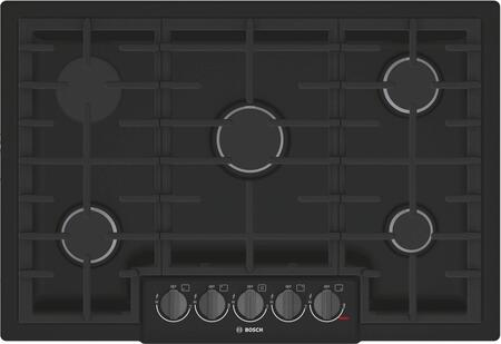 Bosch NGM8046UC 800 Series 30 Inch Wide Built-In Gas Cooktop with 5 Sealed Burners, Black
