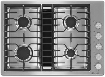 JGD3430BS 30 inch  Downdraft Gas Cooktop with 4 Sealed Burners  3 Speed Fan  425 CFM Blower  Knob Controls  and Flame-Sensing Re-ignition  in Stainless