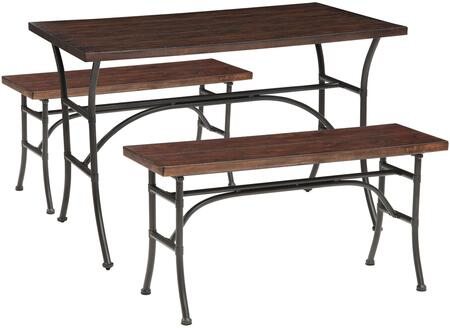Domingo Collection 71665 3 PC Counter Height Dining Set with Smooth Rectangular Wood Top  Wooden Bench Seats and Metal Construction in Walnut and Antique Black