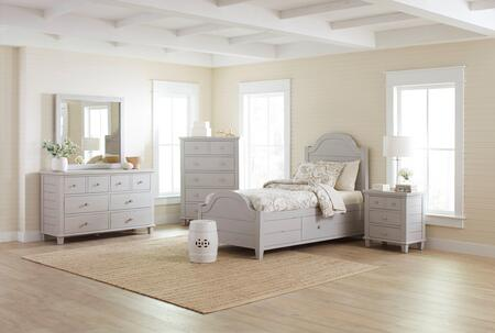 Chesapeake Collection 177380818286KTSET 5 PC Bedroom Set with Twin Size Storage Bed + Dresser + Mirror + Chest + Nightstand in Dove