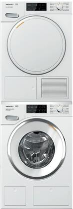 White Stacked Front Load Laundry Pair with WWH860WCS 24 inch  Front Load Washer  TWF160WP 24 inch  Electric Dryer  and WTV502 Stacking