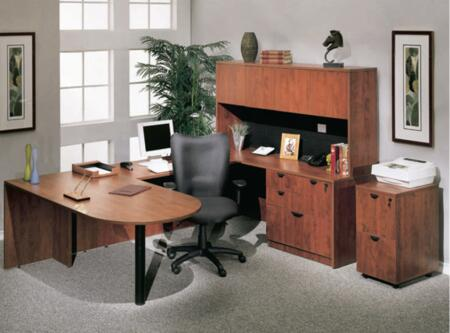 KIT1N147C Bullet Desk Complete with Bridge  Credenza  Hutch  Lateral File and Mobile Pedestal File in Cherry