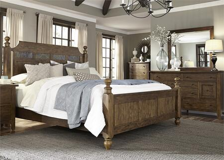 Hearthstone Collection 382-BR-KPSDMC 4-Piece Bedroom Set with King Poster Bed  Dresser  Mirror and Chest in Rustic Oak