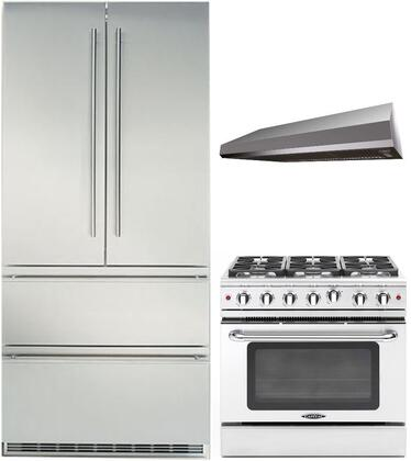 3-Piece Stainless Steel with CS2062 36 inch  French Door Refrigerator  MCR366N 36 inch  Freestanding Gas Range  and MAES3610SS600B 36 inch  Under Cabinet Convertible