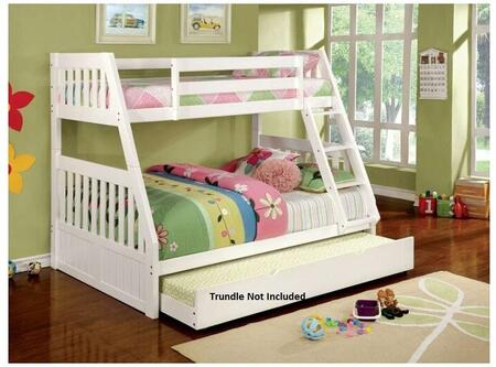 Canberra II Collection CM-BK607WH-BED Twin Over Full Size Bunk Bed with Built-In Angled Ladder  Top and Bottom Slats  Solid Wood and Wood Veneers Construction