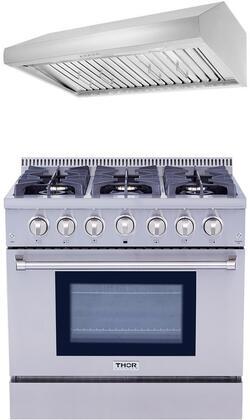2-Piece Stainless Steel Kitchen Package with HRG3618U 36 inch  Dual Fuel Freestanding Range  and HRH3606U 36 inch  Under Cabinet Range