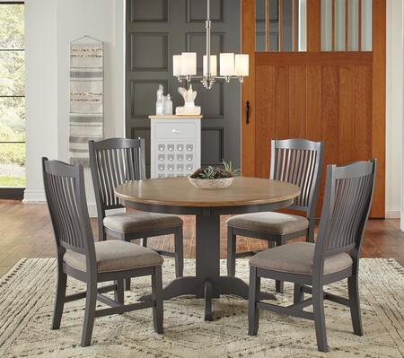 Port Townsend Collection POTSPRDT4USC 5-Piece Dining Room Set with Round Dining Table and 4x Upholstered Side Chairs in Gull Grey and Seaside Pine