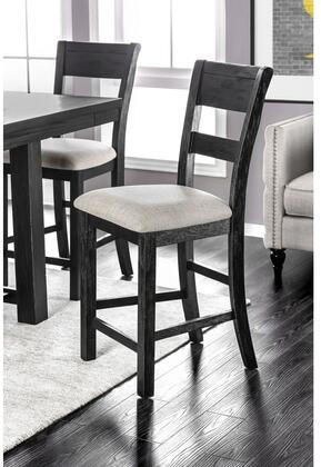 Thomaston Collection CM3543PC-2PK Set of 2 Counter Height Chair with Transitional Style  Slat Back and Padded Fabric Seat in Brushed Black and