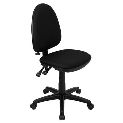 WL-A654MG-BK-GG Mid-Back Black Fabric Multi-Functional Task Chair with Adjustable Lumbar