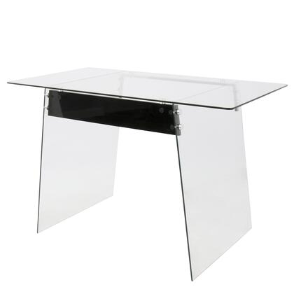 OFD-TM-GLACBK Glacier Contemporary Office Desk In Clear and