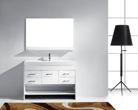 MS-575-C-WH Modern 48 Single Sink Bathroom Vanity Set White w/Polished Chrome