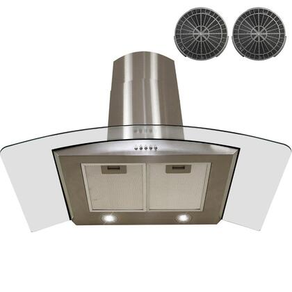 GWR73S30 30 inch  Wall Mount Range Hood with 760 CFM  65 dB  Crisp Analog Push Buttons  2W LED Lighting  3 Fan Speed  Aluminum Grease Filter and Ductless: Stainless