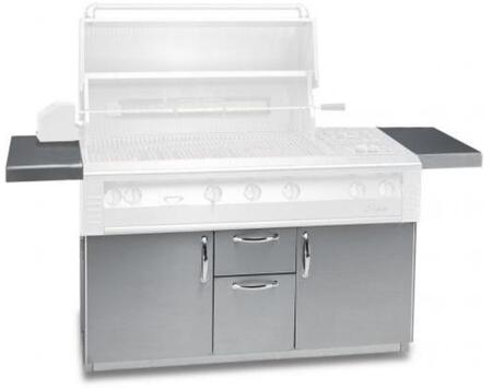 AL-56C 30 Freestanding Grill Cart with 2 Access Doors  2 Drawers  2 Side Shelves  and Caster Wheels in Stainless