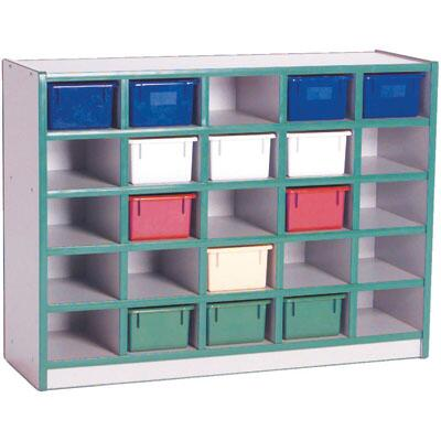 N60202BL 25-Tray Cubbie Unit with Trays Gray Nebula Finish  Edge Color - Blue  Tray Color -
