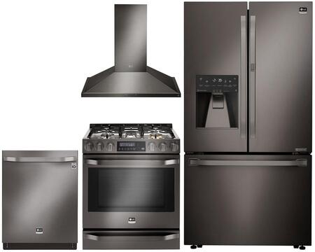 Studio Series 4-Piece Kitchen Package With LSSB2696BD 42 inch  Built In Side by Side Refrigerator  LSSG3019BD 30 inch  Slide-in Gas Range  LSHD3089BD 30 inch  Wall Mount