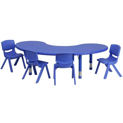 YU-YCX-0043-2-MOON-TBL-BLUE-E-GG 35''W x 65''L Adjustable Half-Moon Blue Plastic Activity Table Set with 4 School Stack