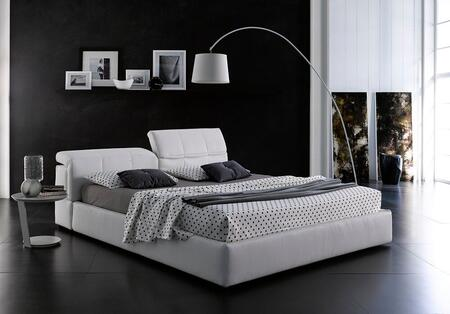 18087-QD718 Queen Size Giselle Storage Bed with Hydraulic Lift Component and Individualy Adjustable Headrests in White