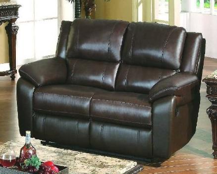 BA6637L-BR Baxtor Leather Match Love Seat in