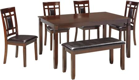 Bennox D384-325 6-Piece Dining Room Counter Table Set with Casual Style  Four Stools  Bench and Upholstered Seats in