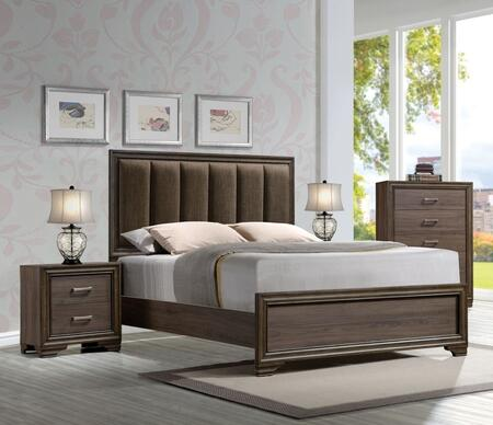Cyrille Collection 25844CK3SET 3 PC Bedroom Set with California King Size Bed  Chest and Nightstand in Walnut