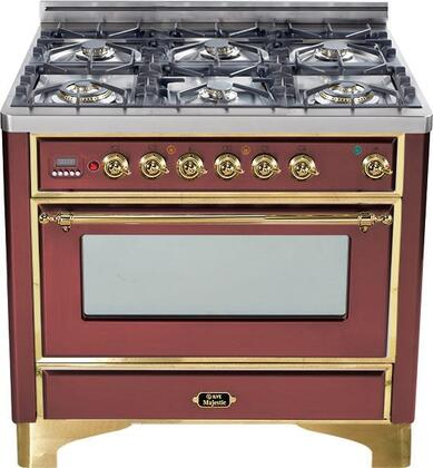 "UM-906-DMP-RB 36"" Majestic Series Dual Fuel Range with 3.55 cu. ft. Oven Capacity  6 Burners  Electronic Ignition  Digital Clock and Timer  and Brass Trim:"