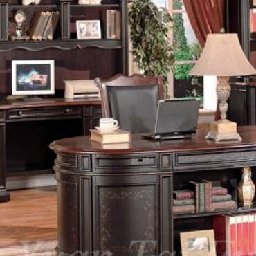 KA6193CH Kahlua Credenza and Hutch in a Two Tone Black and Dark Cherry