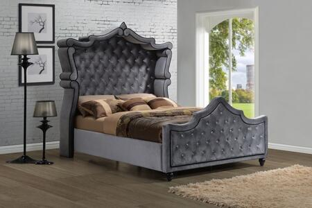 Hudson HUDSON-CANOPY-Q Queen Size Canopy Bed with Crystal Tufting  Velvet Upholstery and Turned Feet in