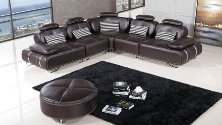 AE-L607 Collection AE-L607M-DC 6-Piece Sectional Sofa with Left Arm Facing Chair  2 Armless Chair  Wedge and Right Arm Facing Chair in Dark