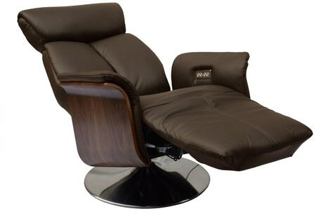 RL1451BRN Ella Recliner Armchair  Brown Leather  Power Relax Function With Headrest Function. Brushed Metal Swivel