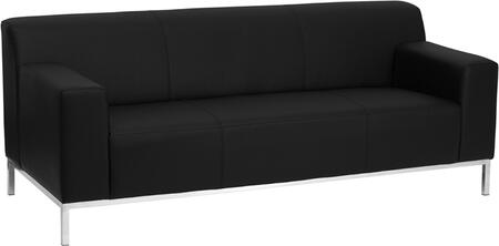ZB-DEFINITY-8009-SOFA-BK-GG HERCULES Definity Series Contemporary Black Leather Sofa with Stainless Steel