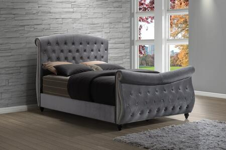 Hudson HUDSON-SLEIGH-Q Queen Size Sleigh Bed with Crystal Tufting  Nail Head Design and Velvet Upholstery in