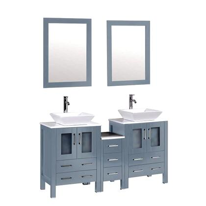 9169-GREY Ouriel 60 inch  Double Vanity In Blue Grey With Marble Vanity Top In White And
