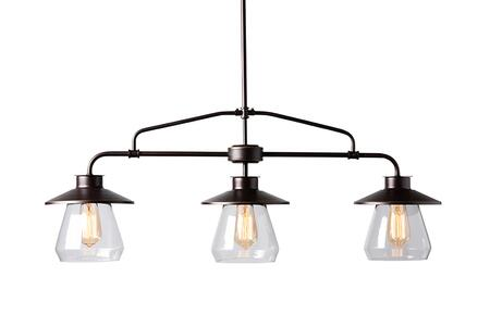 EVEN3682 Baxton Studio Raissa Vintage Industrial Dark Bronze Metal and Glass 3-Light Kitchen Island Pendant