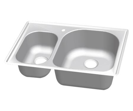 CMT3322-79D Craftsmen Series Stainless Steel Double Bowl Topmount Sinks  Small Bowl on