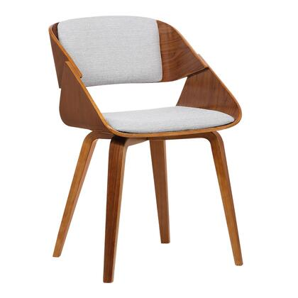 Ivy Collection LCIVCHWAGREY Mid-Century Dining Chair in Gray Fabric with Walnut