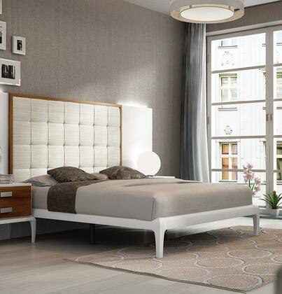 Malaga Collection i17828 Queen Size Panel Bed with High Tufted Headboard  Tapered Legs  Wooden Slat Frame and Eco-Leather Upholstered