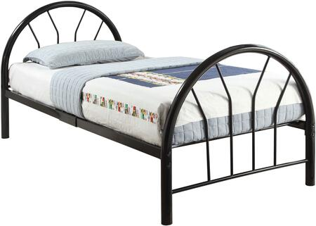 Silhouette Collection 30450TBK Twin Size Bed with Fanback Design  Slat System Included  Metal Frame  Side Rails and Slats Included in Black