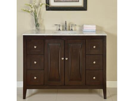 FS0269WMUWC48 48 inch  Single Sink Cabinet with 7 Drawers  2 Doors  Carrara White Marble Top and Undermount White Ceramic Sink